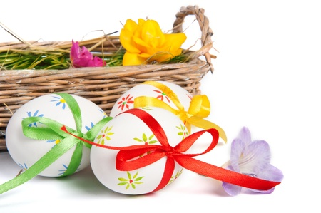 made by hand: Colorful Easter wggs with a bow in a basket