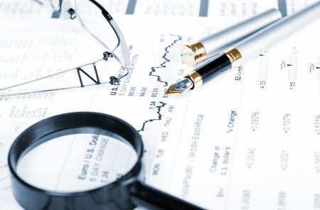 market analysis: Business of financial analytics desktop with accounting charts and diagrams