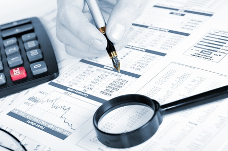 Business of financial analytics desktop with accounting charts and diagrams photo