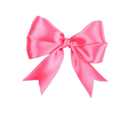moño rosa: Arco de satén de regalo aislados en blanco