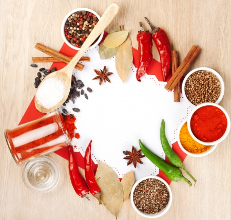 india food: Spices on a wooden table