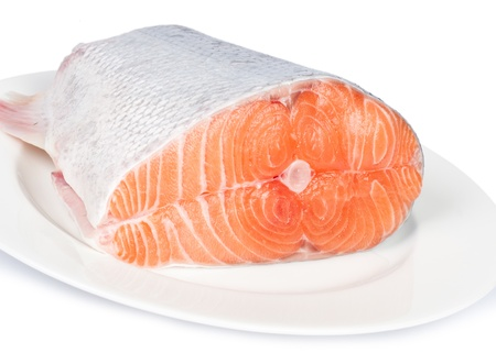 red fish: Fresh salmon red fish with lemon and spices