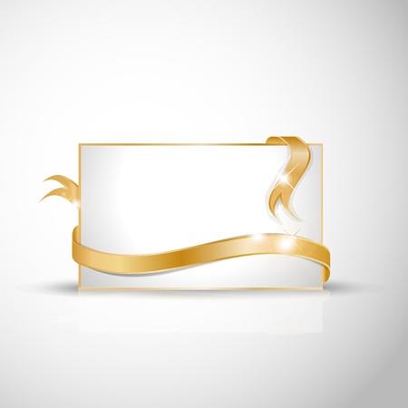 ruban or: Blanc carte de voeux avec des rubans d'or autour de