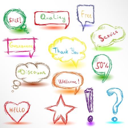 colour pencil: Colorful hand drawn speech bubbles
