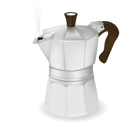 masher: Cofee maker, vector photorealistic ilustration, isolated onwhite