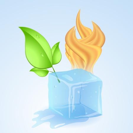 Eisw�rfel mit Feuer und gr�n junges Blatt. Vektor-Illustration.