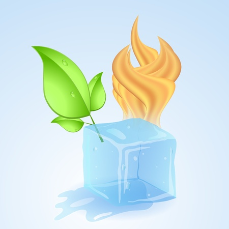 thawing: Ice cube with fire and green young leaf. Vector illustration. Illustration