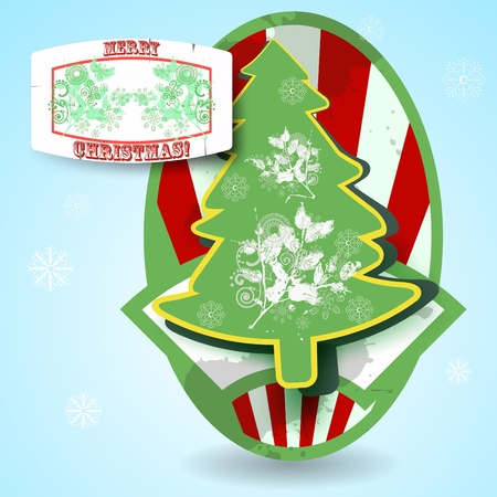 Christmas paper tree, beautiful cartoon illustration.  Stock Photo