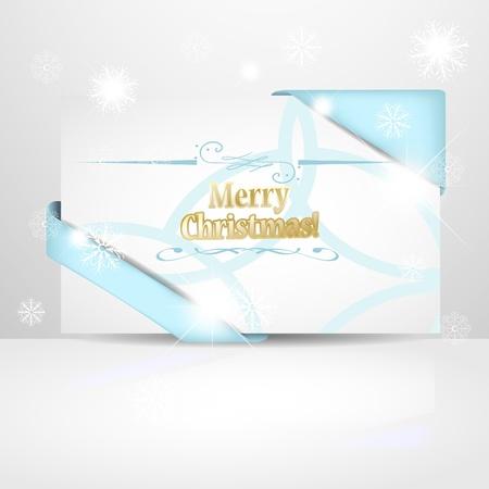 Weiche blaue Weihnachtskarte mit Schneeflocken und Blendung Lizenzfreie Bilder