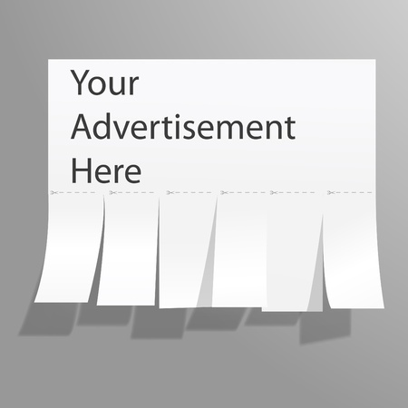 Blank advertisement with cut slips. Vector. Illustration