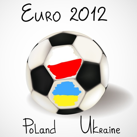 Fu�ball mit Flaggen von Polen und der Ukraine