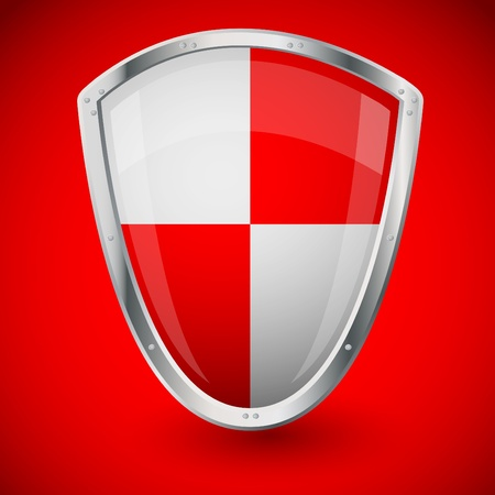 Red shield on red background - financial security Illustration
