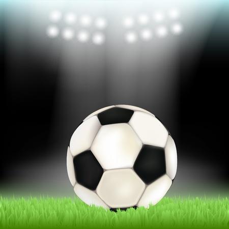 Fu�ball im Stadion Feld Gras, von Scheinwerfern beleuchtet