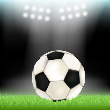 soccer stadium: Soccer ball on stadium field grass, illuminated by floodlights Illustration