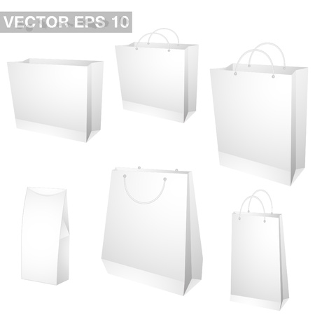 white paper bag: set of shopping bags. vector Illustration