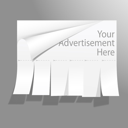 Blank advertisement with cut slips. Vector. Vector