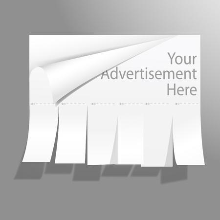 Blank Werbung mit geschnittenen rutscht. Vector. Illustration