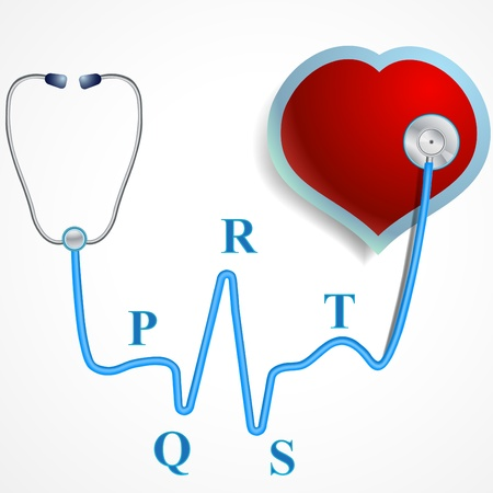 stetoscope: Doctor or physicians stethoscope with heart and PQRST cardiogram Illustration