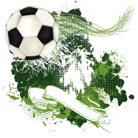 Grunge soccer poster with ribbon and soccer ball