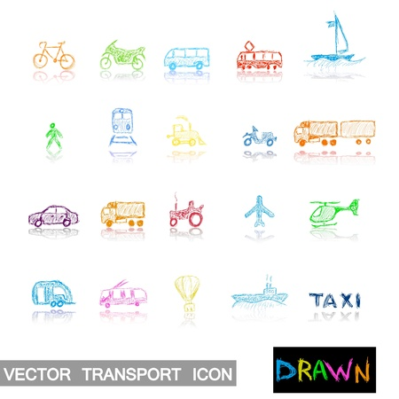 transport hand drawn icon set