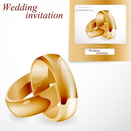 Goldene Ringe auf wei�em und Hochzeitseinladung isoliert.