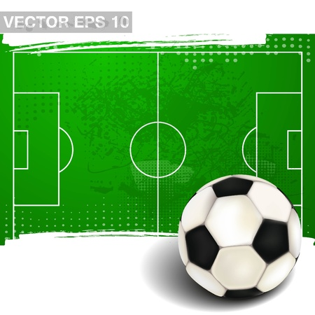 soccerball: footbal field with soccer ball in vintage style Illustration