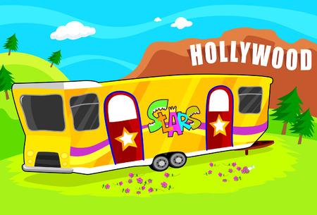 Luxurious Hollywood Star Trailer  Illustration