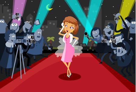 Hollywood actrice op de rode loper  Vector Illustratie