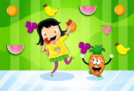 accompanied: Healthy girl happily eat fruits, accompanied by a dancing pineapple Illustration