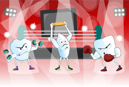 doctor gloves: A pair of healthy teeth in a boxing ring ready to rumble
