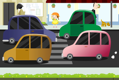 crowded street: Little girl crossing the busy street  Illustration