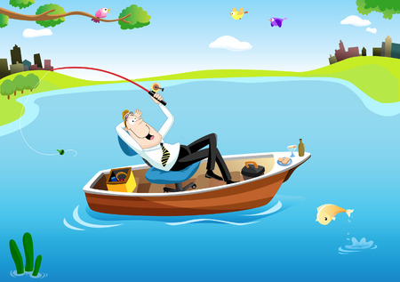 work boat: Businessman relaxing on a boat, while fishing in the middle of the lake
