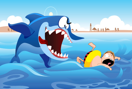 hopeless: A boy being pursued by a giant shark  Illustration