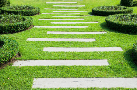 Landscaping in the garden. The path in the garden. Banque d'images