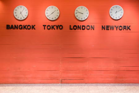 time zone: wall clock for to indicate world international time zone.