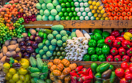fruit market: Fruit market with various colorful fresh fruits and vegetables