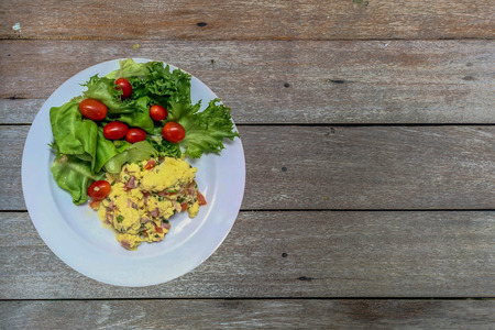 omlet: scrambled eggs with vegetables