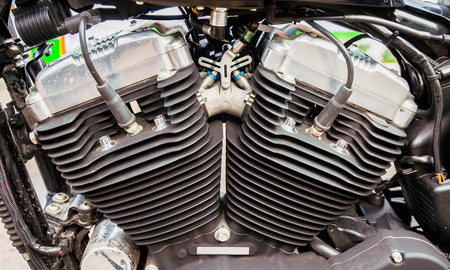machined: Motorcycle engine close-up detail background Stock Photo