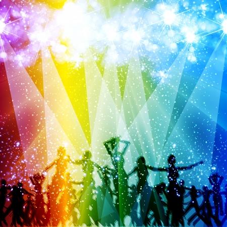 etapas de vida: luz de la etapa de fondo con la gente bailando, gente quita f�cil Vectores