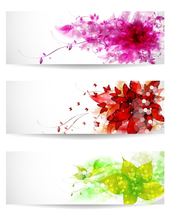 Set of three color vector background or card Vector