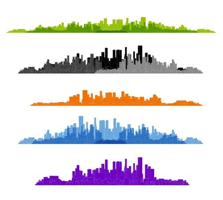 building blocks: set of cityscape silhouette background