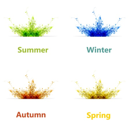 Set of four color season background or card