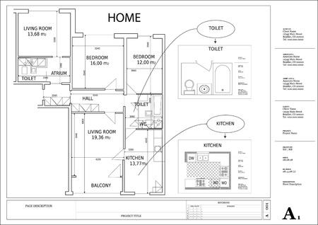 plan maison: architectural plan de maison de dessin