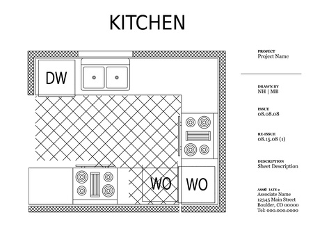 architectural kitchen plan  Vector