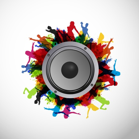 disco speaker: Party People with Sound Speaker Illustration