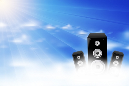 Nature cloud light stage background with speaker Vector