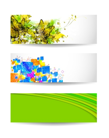 text boxes: Set of three color vector background