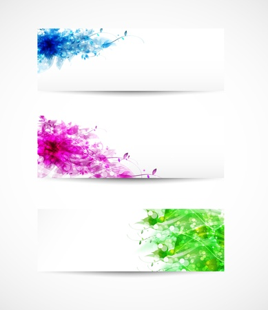 Set Of Floral Headers, easy all editable Vector