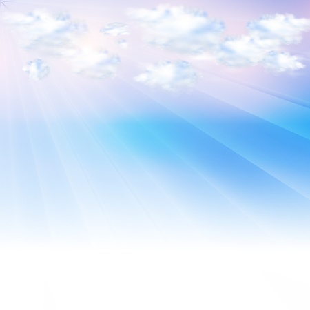 Blue sky with clouds, Vector background easy editable