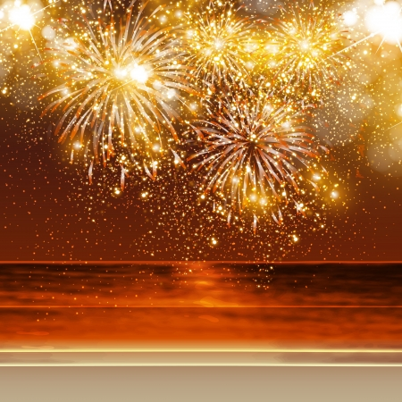 Happy New Year fireworks background in summer, easy all editable Vector